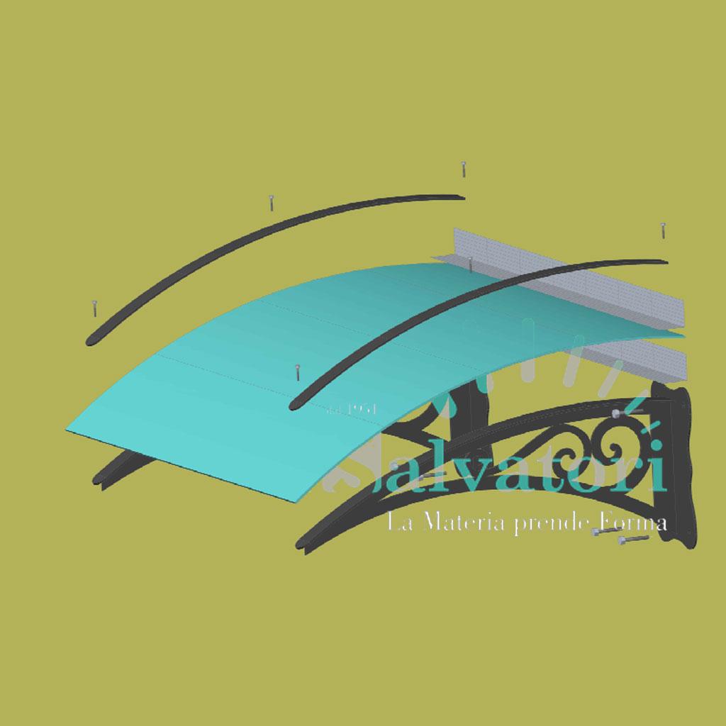 Pensilina in acciaio e plex per esterno